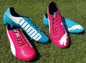 Picture of Puma's pink and blue boots